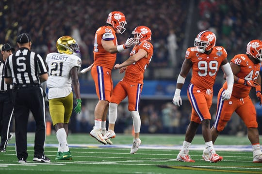 Clemson kicker Greg Huegel (92) celebrates a made field goal in the first quarter of the Cotton Bowl on December 29, 2018.