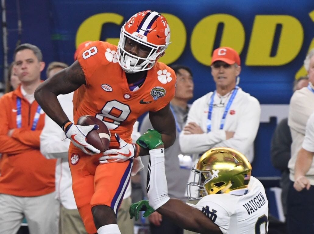 Clemson's Justyn Ross catches a touchdown pass from Trevor Lawrence in the first quarter of the Cotton Bowl on December 29, 2018.