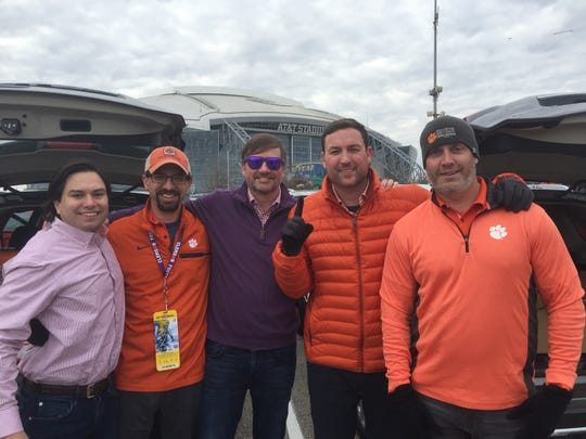 Clemson fans (left to right) Richard Roth, of New Orleans, Stevie Johnson, of Meggett, John Hoffman, of Fort Mill, and Jason Gregorie and Scott Baskin, of Charleston tailgate of the Cotton Bowl in Arlington on Saturday, Dec. 29, 2018.
