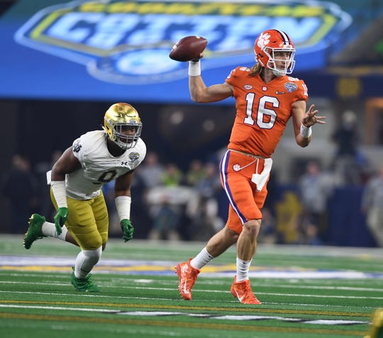 Clemson quarterback Trevor Lawrence throws a pass against Notre Dame at the Cotton Bowl on December 29, 2018.