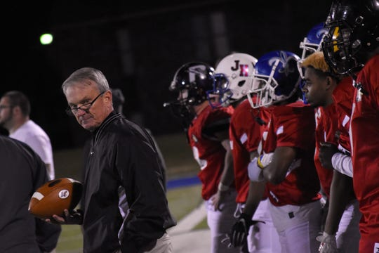 Pineville coach Dennis Dunn (left) looks on during the LGF Bowl Friday at Louisiana College.