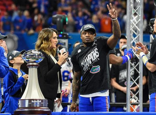 Florida Gators defensive back Chauncey Gardner-Johnson (23) is interviewed after being named defensive player of the game after his team defeated the Michigan Wolverines in the 2018 Peach Bowl at Mercedes-Benz Stadium. Mandatory Credit: Dale Zanine-USA TODAY Sports