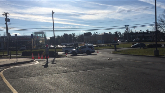 A view inside Doubletree Shopping Center around noon Saturday during an evacuation by Glassboro police.