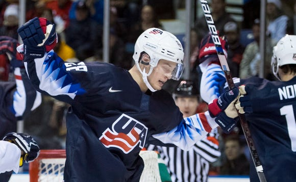 Joel Farabee had a natural hat trick in the first period of the U.S. 8-2 win over Kazakhstan Friday night.