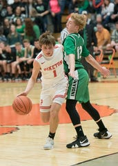 Piketon's Alex Blanton dribbles the ball during a game against Western during the 2018-19 Pike County Holiday Classic.
