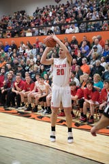 Piketon's Chris Chandler shoots a three-pointer during a game against Western during the 2018-19 Pike County Holiday Classic.