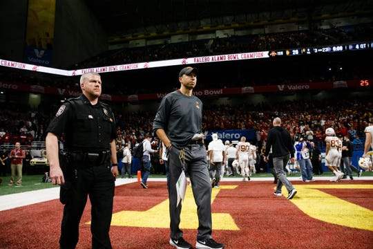 Iowa State head coach Matt Campbell waits to walk off the field following their 28-26 loss to Washington State at the Valero Alamo Bowl on Saturday, Dec. 29, 2018, in San Antonio.