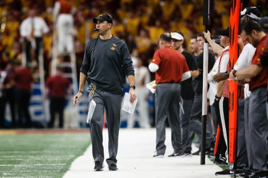 Iowa State head coach Matt Campbell walks the sideline during the Valero Alamo Bowl on Saturday, Dec. 29, 2018, in San Antonio. Washington State would go on to win 28-26.