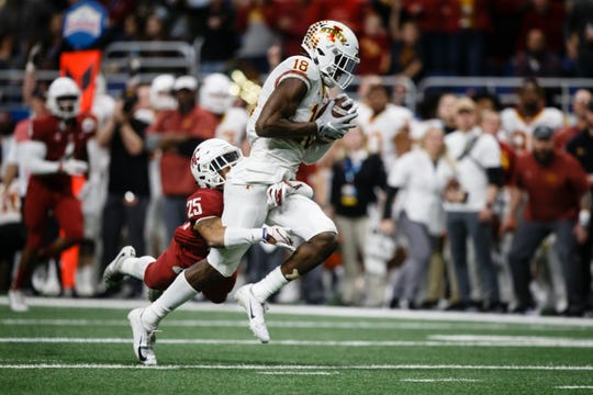 Iowa State's Hakeem Butler (18) makes a catch during the Valero Alamo Bowl on Friday, Dec. 28, 2018, in San Antonio.