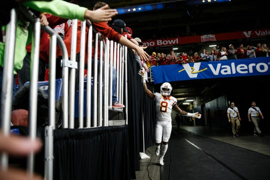 Iowa State wide receiver Deshaunte Jones honors his late father before every game.