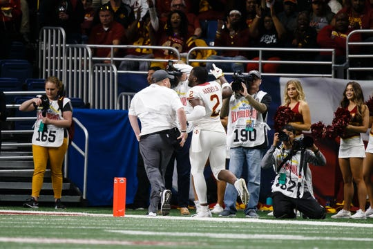 Iowa State's Willie Harvey (2) runs off the field after being disqualified for targeting during the Valero Alamo Bowl on Friday, Dec. 28, 2018, in San Antonio. Washington State takes a 21-10 lead over Iowa State into halftime.