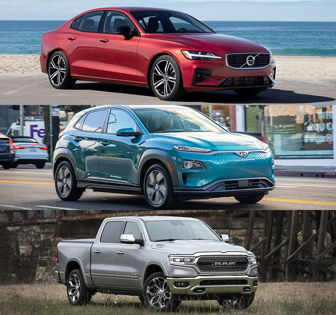 From the top, 2019 Volvo S60, 2019 Hyundai Kona EV and the 2019 Ram 1500