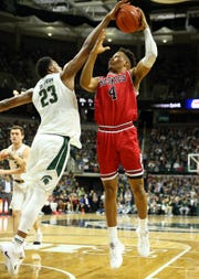 Michigan State forward Xavier Tillman blocks the shot of Northern Illinois forward Lacey James during the first half on Saturday, Dec. 29, 2018, in East Lansing.