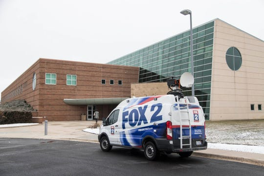 A Fox 2 truck is parked outside of Oak Pointe Church in Novi for the memorial service of Fox 2 meteorologist Jessica Starr, Saturday, Dec. 29, 2018.