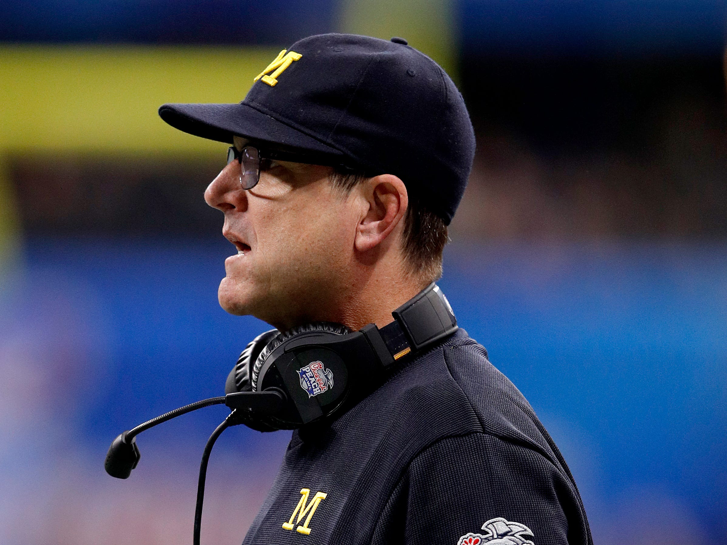 Michigan coach Jim Harbaugh reacts during U-M's 41-15 loss in the Peach Bowl on Saturday, Dec. 29, 2018, in Atlanta.
