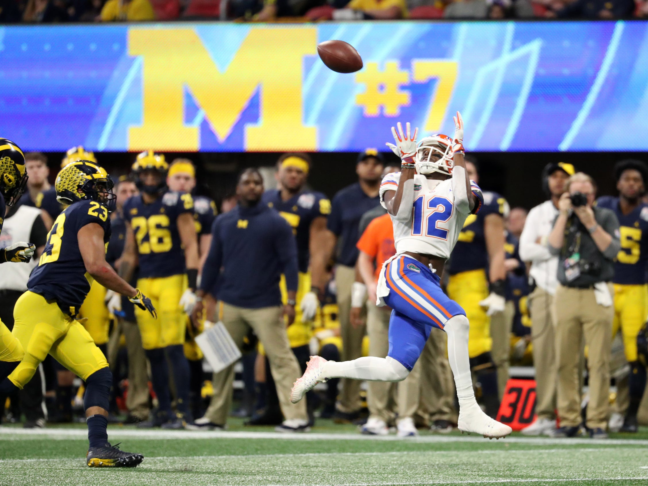 Florida wide receiver Van Jefferson makes a reception in the first quarter against Michigan during the first half of the Peach Bowl on Saturday, Dec. 29, 2018, in Atlanta.
