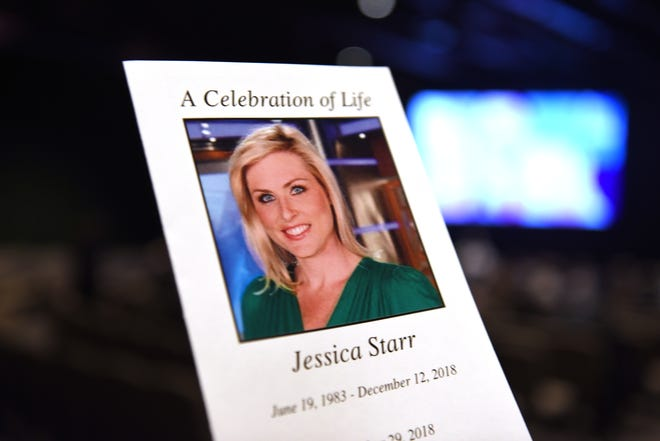 The program for the celebration of  life service for Fox 2 meteorologist Jessica Starr on Saturday, December 29, 2018 at the Oak Pointe Church in Novi.
