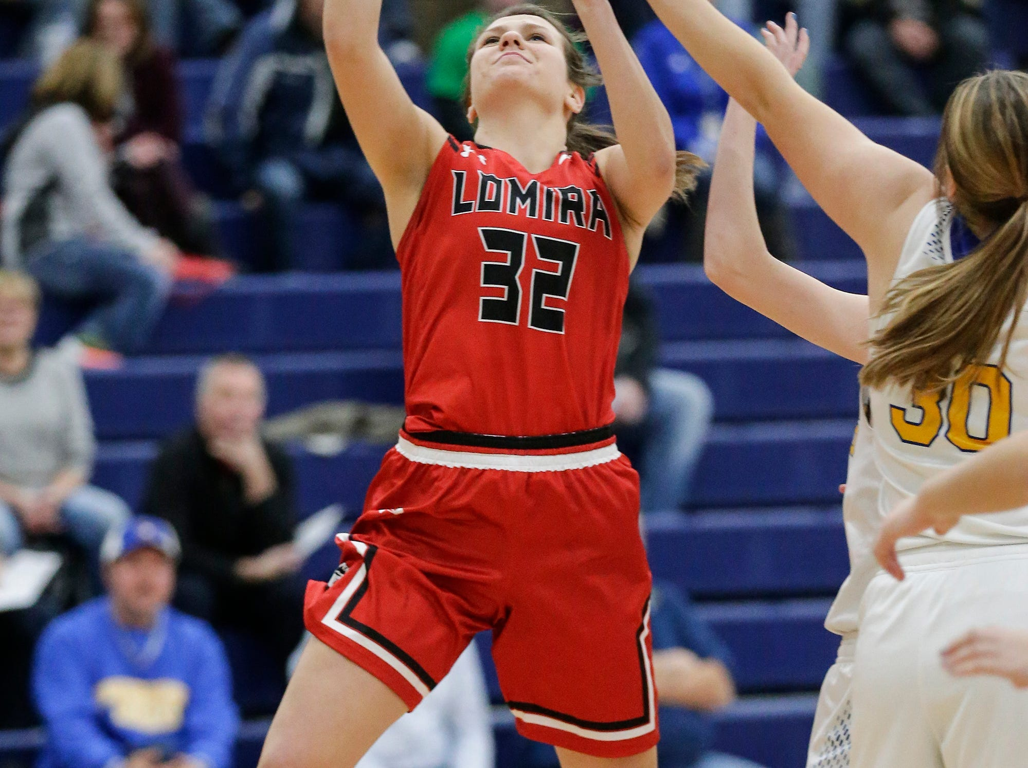 Lomira High School girls basketball's Crystal Geiger goes up for a basket against Campbellsport High School during their game Friday, December 28, 2018 in Campbellsport. Doug Raflik/USA TODAY NETWORK-Wisconsin