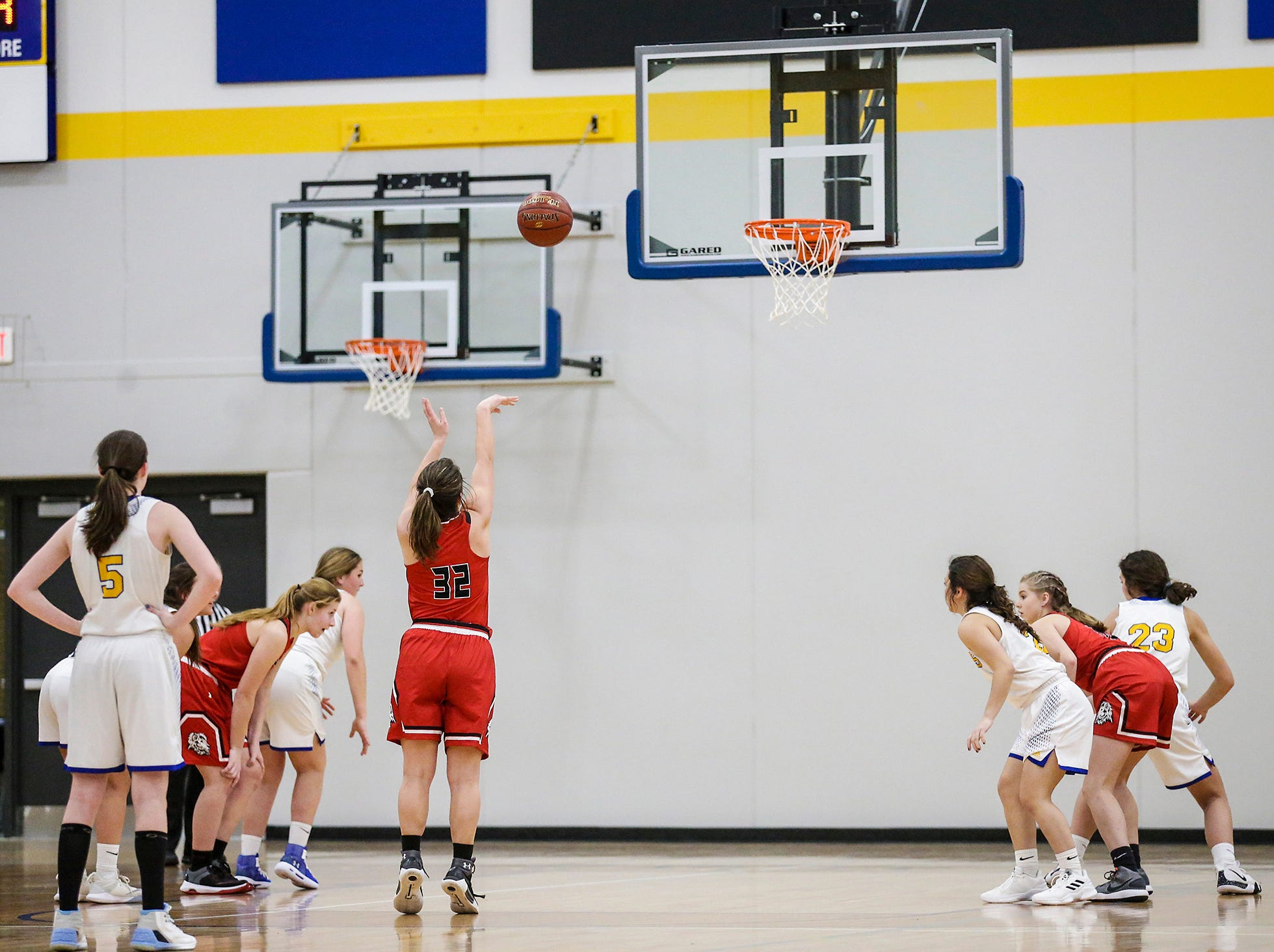 Lomira High School girls basketball's Crystal Geiger attempts a free throw against Campbellsport High School during their game Friday, December 28, 2018 in Campbellsport. Doug Raflik/USA TODAY NETWORK-Wisconsin