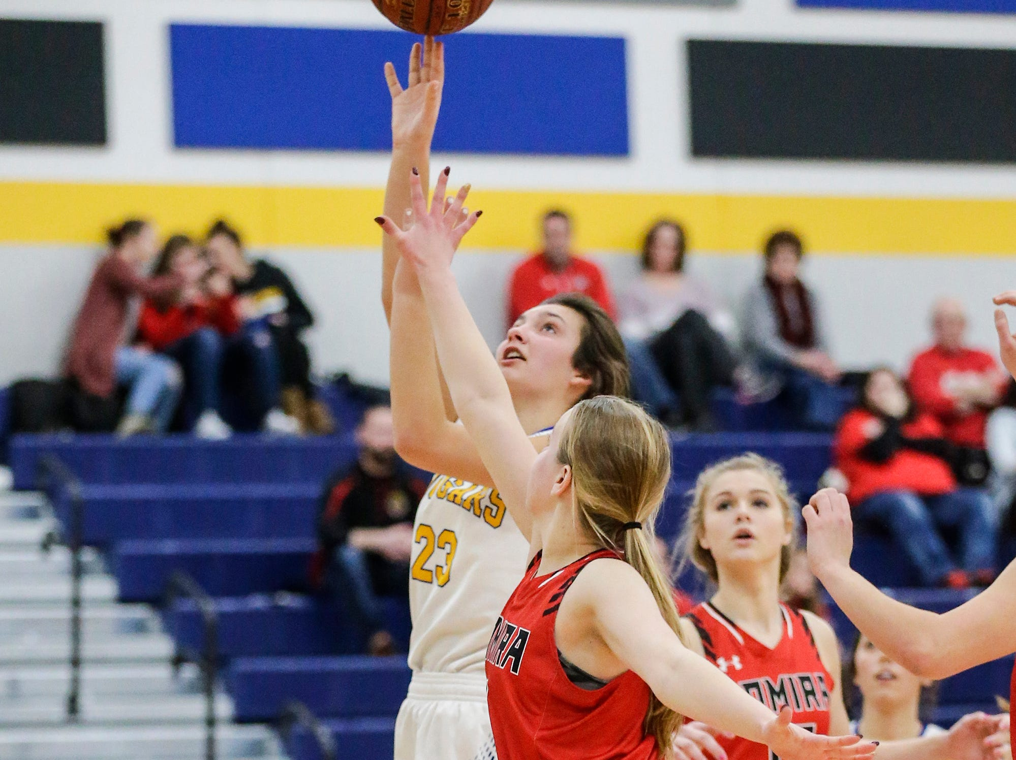 Campbellsport High School girls basketball's Madilyn Danza goes up for a basket against Lomira High School during their game Friday, December 28, 2018 in Campbellsport. Doug Raflik/USA TODAY NETWORK-Wisconsin