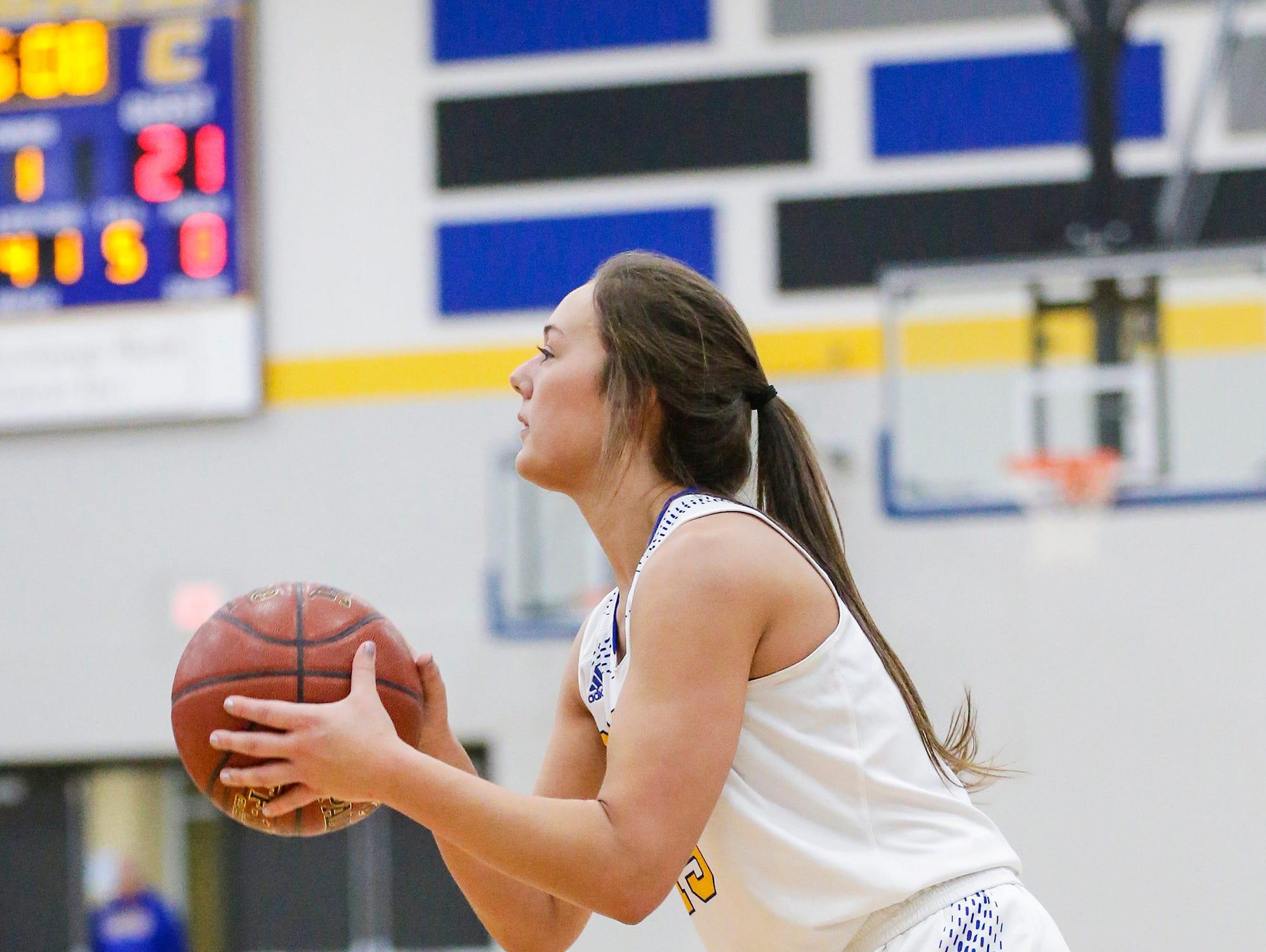 Campbellsport High School girls basketball's Grace Nerat attempts a three pointer against Lomira High School during their game Friday, December 28, 2018 in Campbellsport. Doug Raflik/USA TODAY NETWORK-Wisconsin
