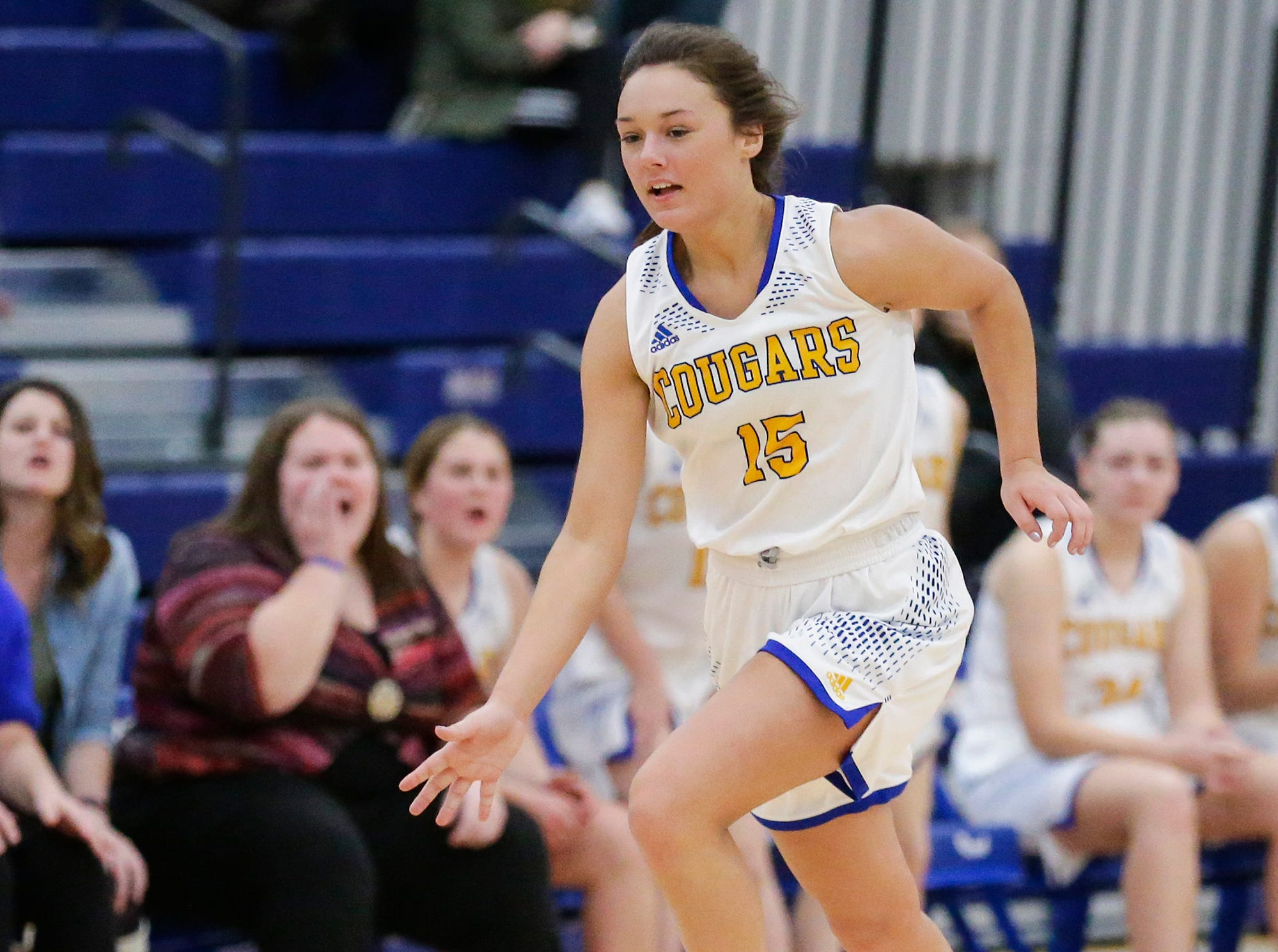 Campbellsport High School girls basketball's Grace Nerat works her way down the court against Lomira High School during their game Friday, December 28, 2018 in Campbellsport.