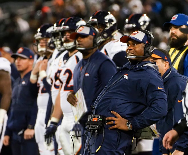Dec 24, 2018; Oakland, CA, USA; Denver Broncos head coach Vance Joseph watches as the Oakland Raiders score a field goal during the second quarter at Oakland Coliseum. Mandatory Credit: Kelley L Cox-USA TODAY Sports