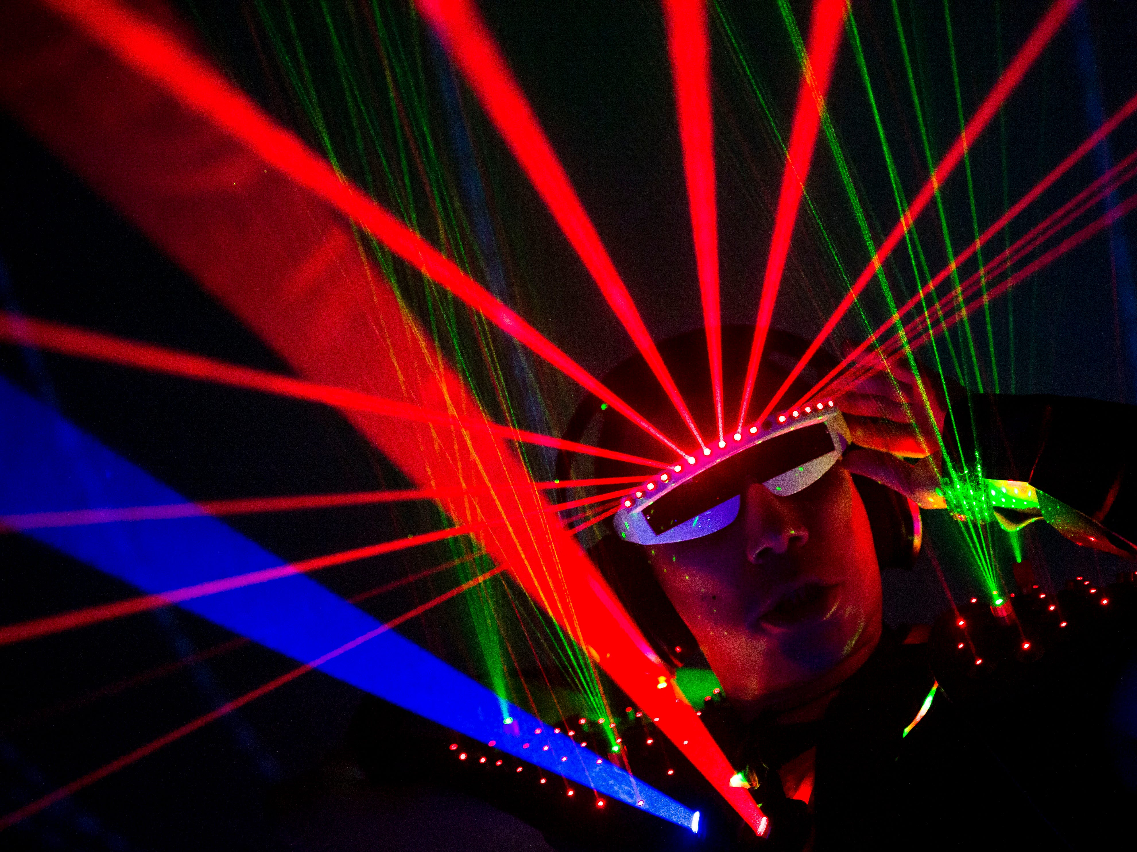 One-man laser and bass show HYZENBORG plays his set at the Fort Collins Museum of Discovery's dome during FoCoMX on Friday, April 27, 2018, in Fort Collins, Colo.