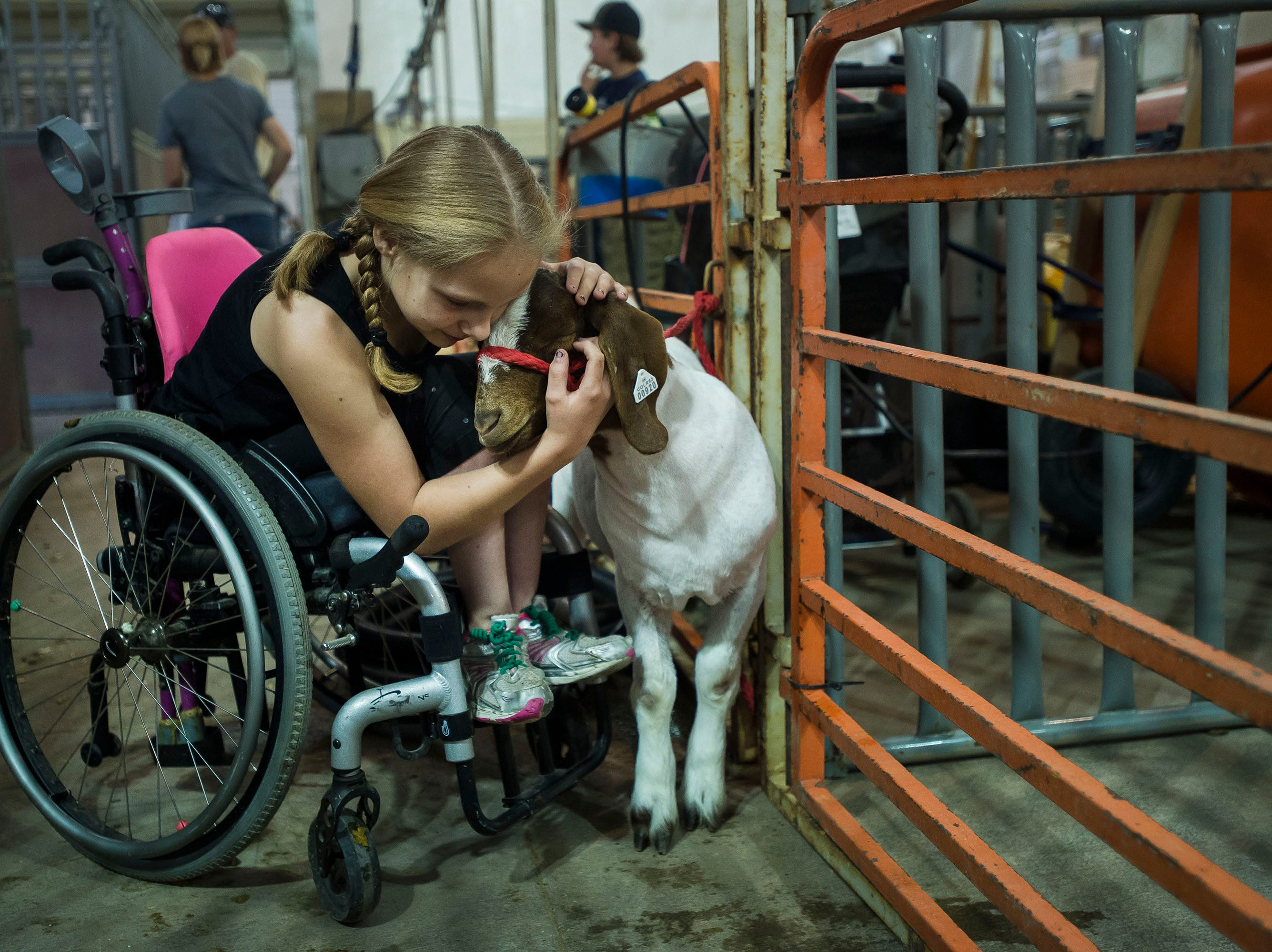 Selen Spence, 11, comforts 7-month-old goat, Donald, after grooming him for his lightweight market class showing at the Larimer County Fair on Thursday, Aug. 2, 2018, at The Ranch Events Complex in Loveland , Colo.