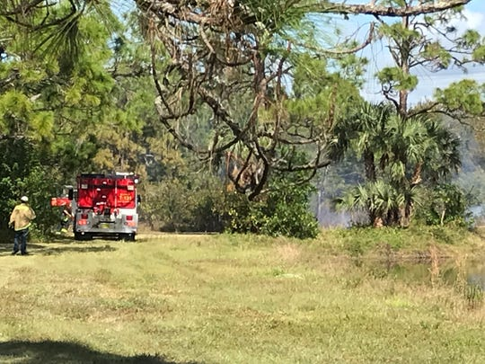 A half-acre grass fire on property along Deal Road near Palm Creek Drive was reported Saturday afternoon.