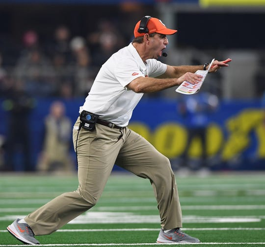 Clemson head coach Dabo Swinney coaches against Notre Dame during the 2nd quarter of the Goodyear Cotton Bowl at AT&T stadium in Arlington, TX Saturday, December 29, 2018.