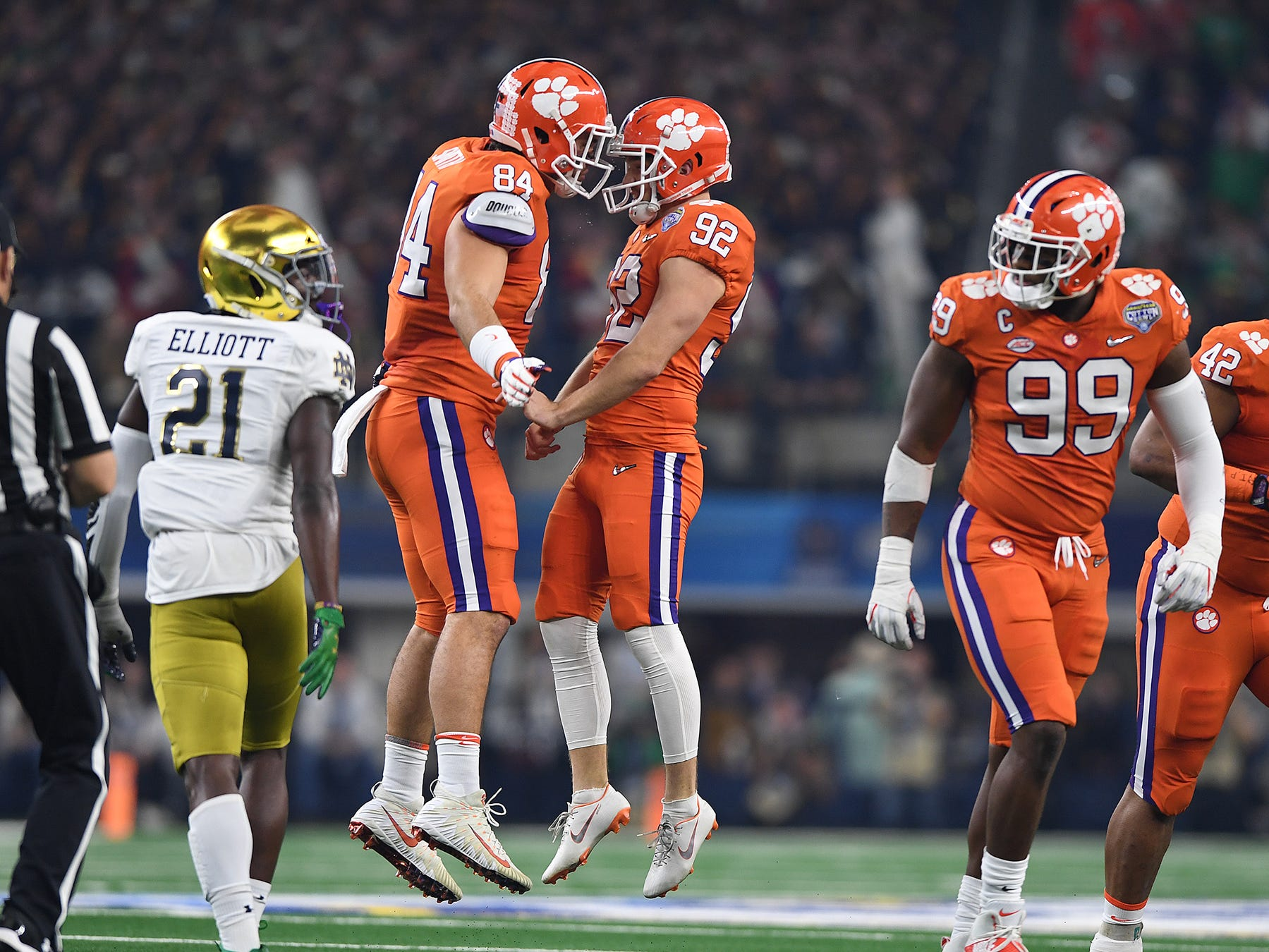 Clemson place kicker Greg Huegel (92) celebrates with tight end Cannon Smith (84) after kicking a field goal against Notre Dame during the 1st quarter of the Goodyear Cotton Bowl at AT&T stadium in Arlington, TX Saturday, December 29, 2018.
