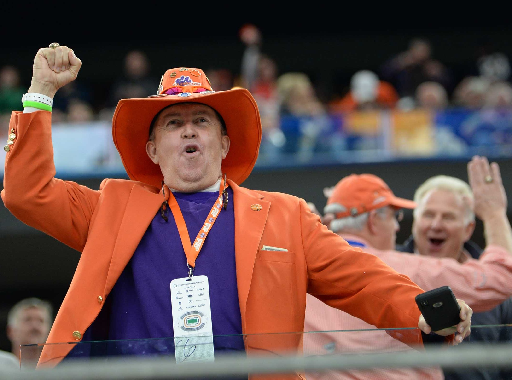 Clemson fan Dean Cox cheers during the first quarter of the College Football Playoff Semifinal at the Goodyear Cotton Bowl Classic at AT&T Stadium in Arlington, Texas Saturday, December 29, 2018.