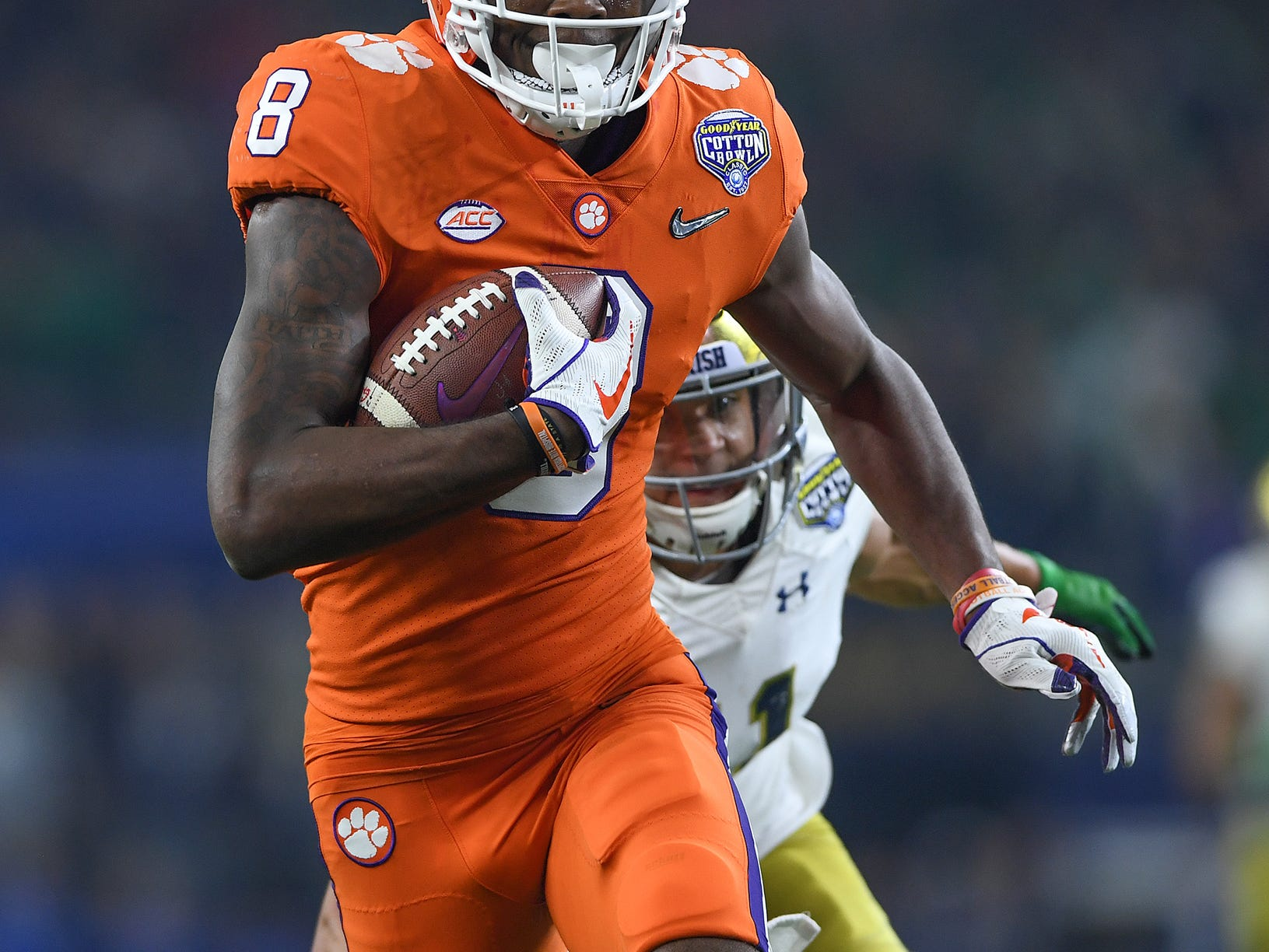 Clemson wide receiver Justyn Ross (8) catches a 42 yard TD against Notre Dame during the 2nd quarter of the Goodyear Cotton Bowl at AT&T stadium in Arlington, TX Saturday, December 29, 2018.