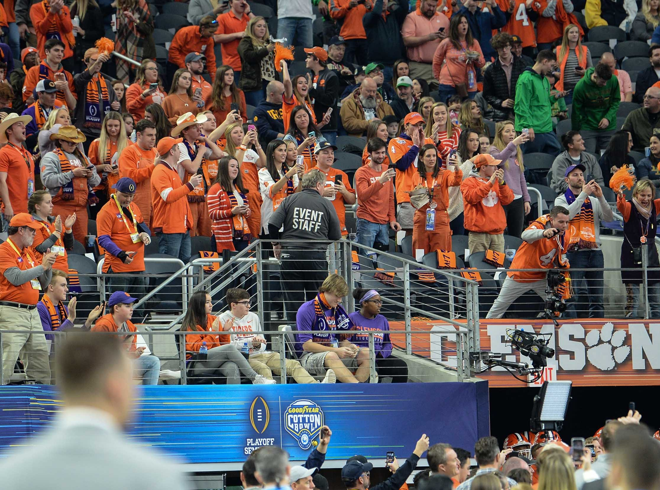 Clemson fans cheer during the first quarter of the College Football Playoff Semifinal at the Goodyear Cotton Bowl Classic at AT&T Stadium in Arlington, Texas Saturday, December 29, 2018.