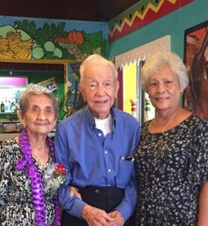 Former Piti mayor is joined by his oldest sister, Olivia G. Mendiola (left), and his wife Antonia.