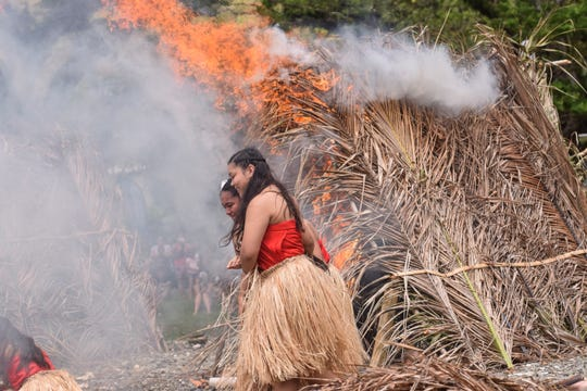 Guma' Nina'en Åcho' Latte members from Oceanview Middle School participate in the Guam History and Chamorro Heritage Day's Magellan Re-enactment at Umatac Bay in this March 5, 2018, file photo.