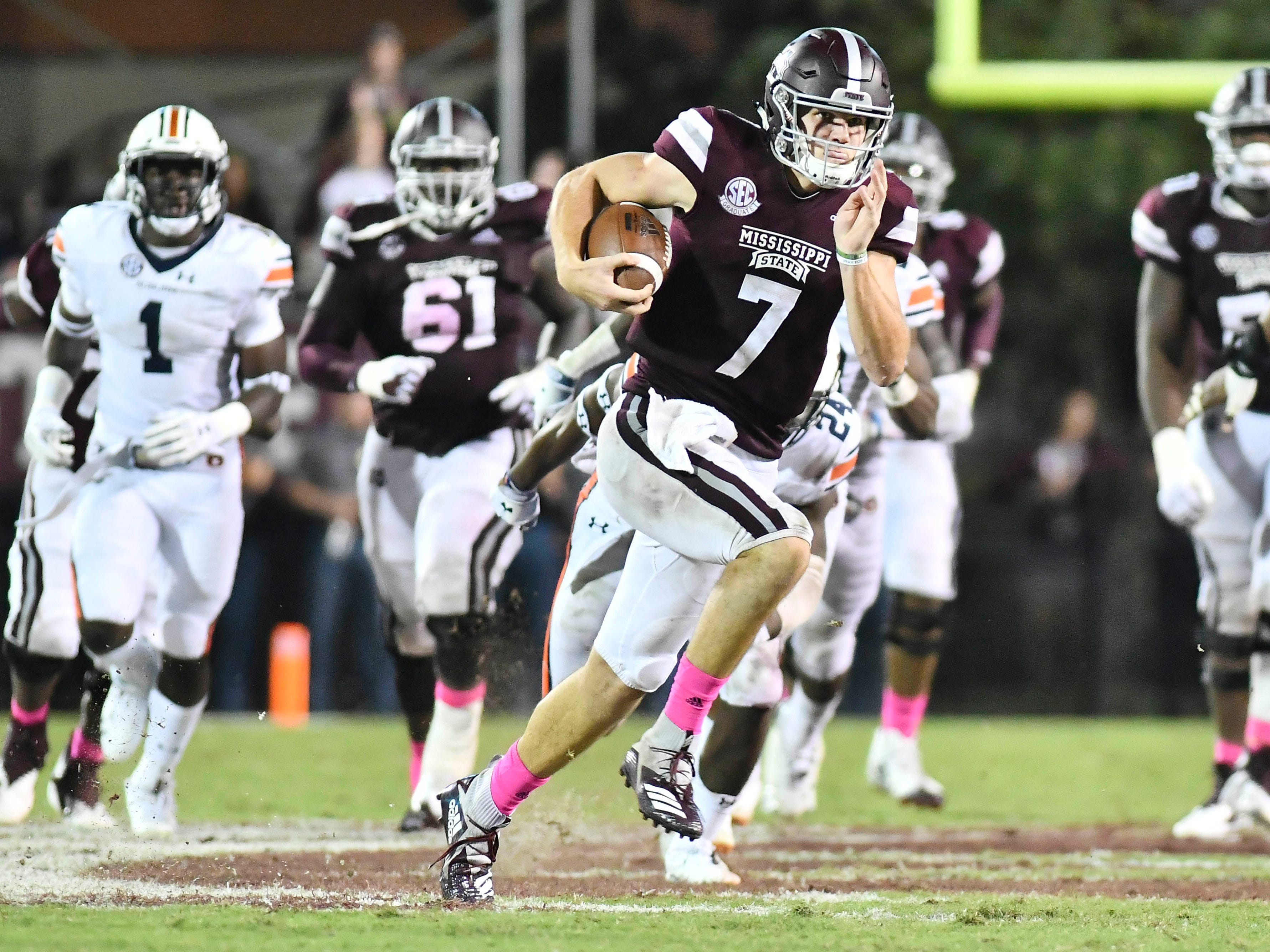 The importance that Nick Fitzgerald plays to Mississippi State's offense is akin to what Tim Tebow meant to Florida years ago. The senior is the Bulldogs' leading rusher, with more than 1,000 yards this season.
