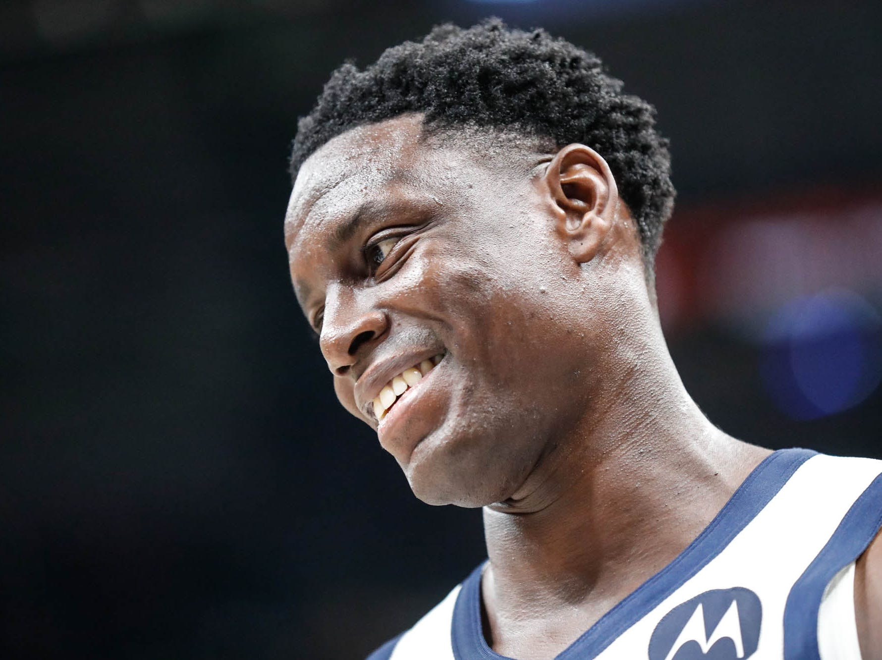 Indiana Pacer's guard Darren Collison (2) giggles after getting hit hard in the shins by a teammates pass during a game between the Indiana Pacers and the Detroit Pistons at at Bankers Life Fieldhouse in Indianapolis on Friday, Dec. 28, 2018.