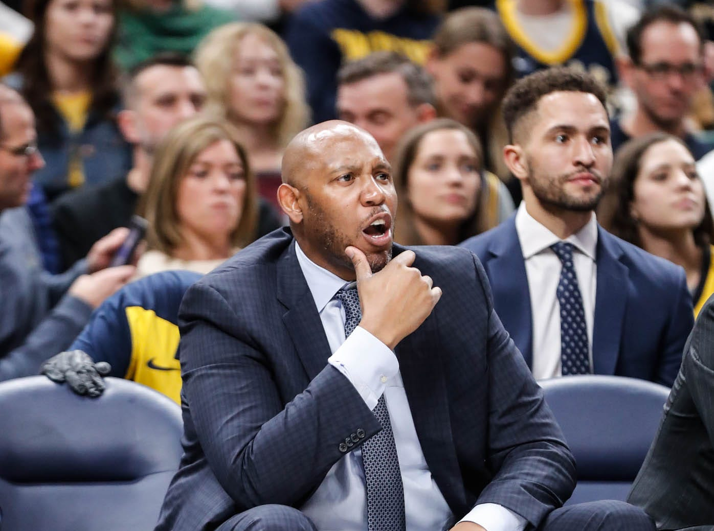 Pacers Assistant coach Popeye Jones reacts to a call during a game between the Indiana Pacers and the Detroit Pistons at at Bankers Life Fieldhouse in Indianapolis on Friday, Dec. 28, 2018.