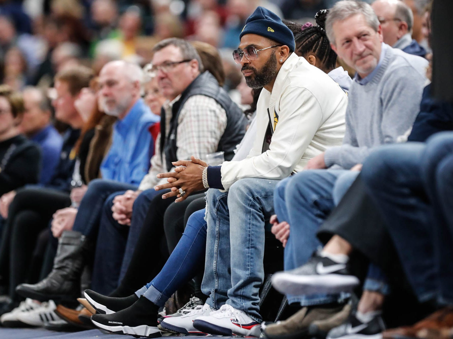 Mike Epps  attends a game between the Indiana Pacers and the Detroit Pistons at at Bankers Life Fieldhouse in Indianapolis on Friday, Dec. 28, 2018.