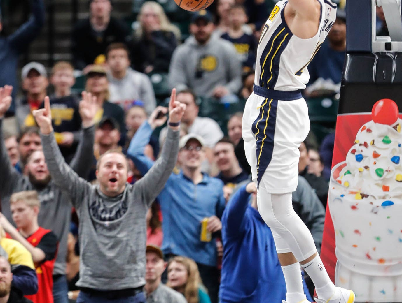 Indiana Pacer's forward Doug McDermott (20) dunks during a game between the Indiana Pacers and the Detroit Pistons at at Bankers Life Fieldhouse in Indianapolis on Friday, Dec. 28, 2018.
