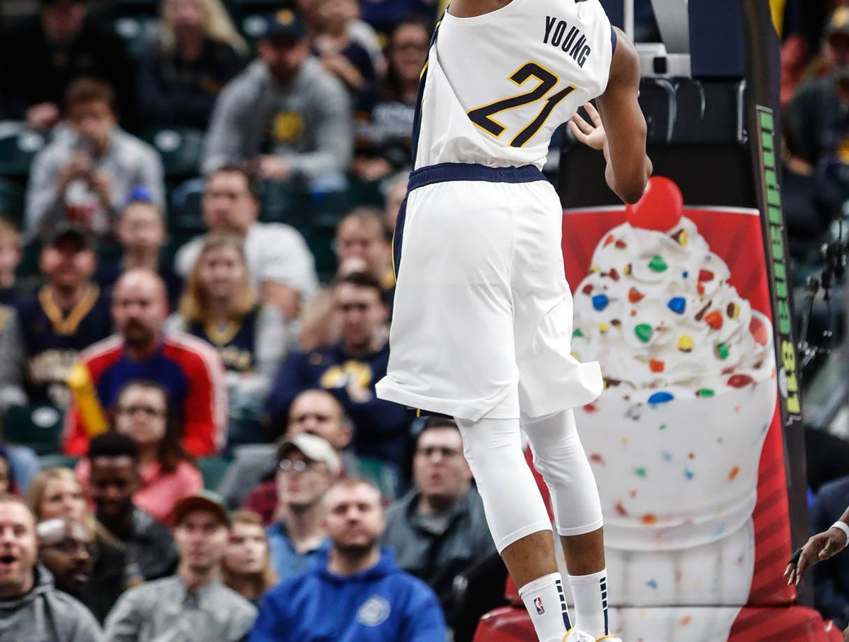 Indiana Pacer's forward Thaddeus Young (21), dunks, during a game between the Indiana Pacers and the Detroit Pistons at at Bankers Life Fieldhouse in Indianapolis on Friday, Dec. 28, 2018.