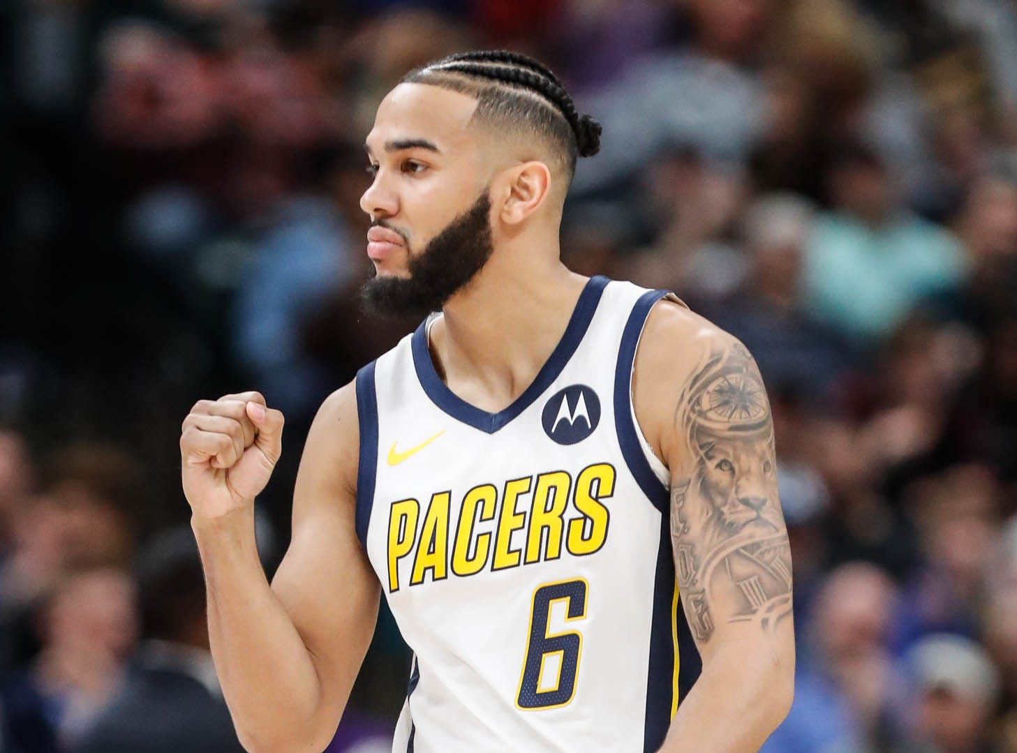 Indiana Pacer's guard Cory Joseph (6), celebrates a call during a game between the Indiana Pacers and the Detroit Pistons at at Bankers Life Fieldhouse in Indianapolis on Friday, Dec. 28, 2018.