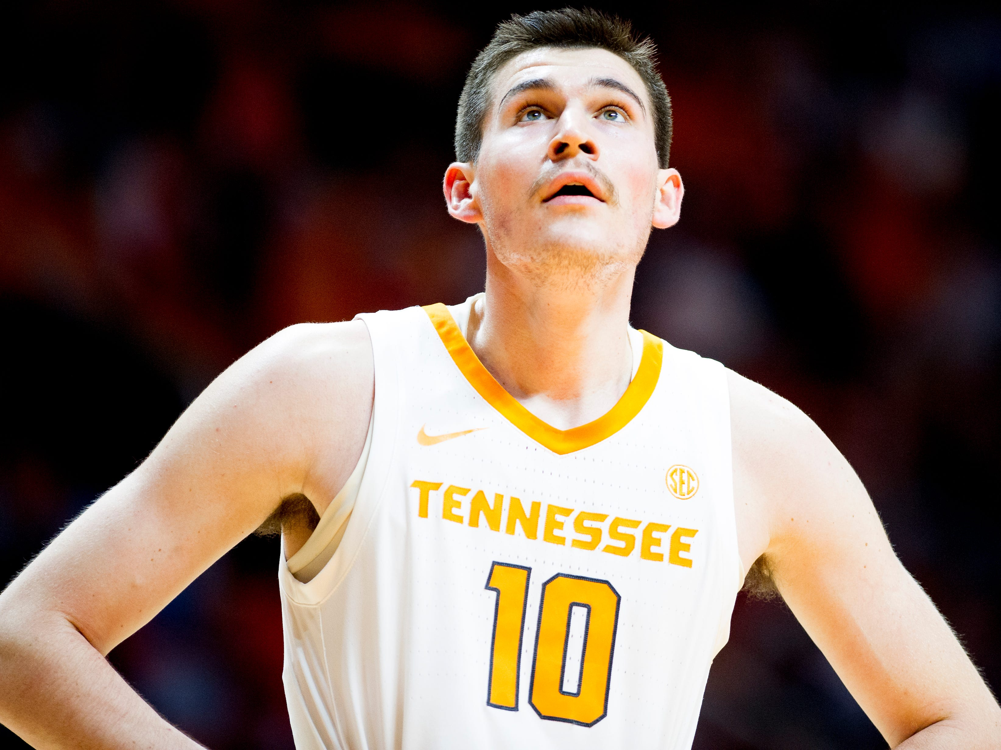Tennessee forward John Fulkerson (10) during a game between Tennessee and Tennessee Tech at Thompson-Boling Arena in Knoxville, Tennessee on Saturday, December 29, 2018.