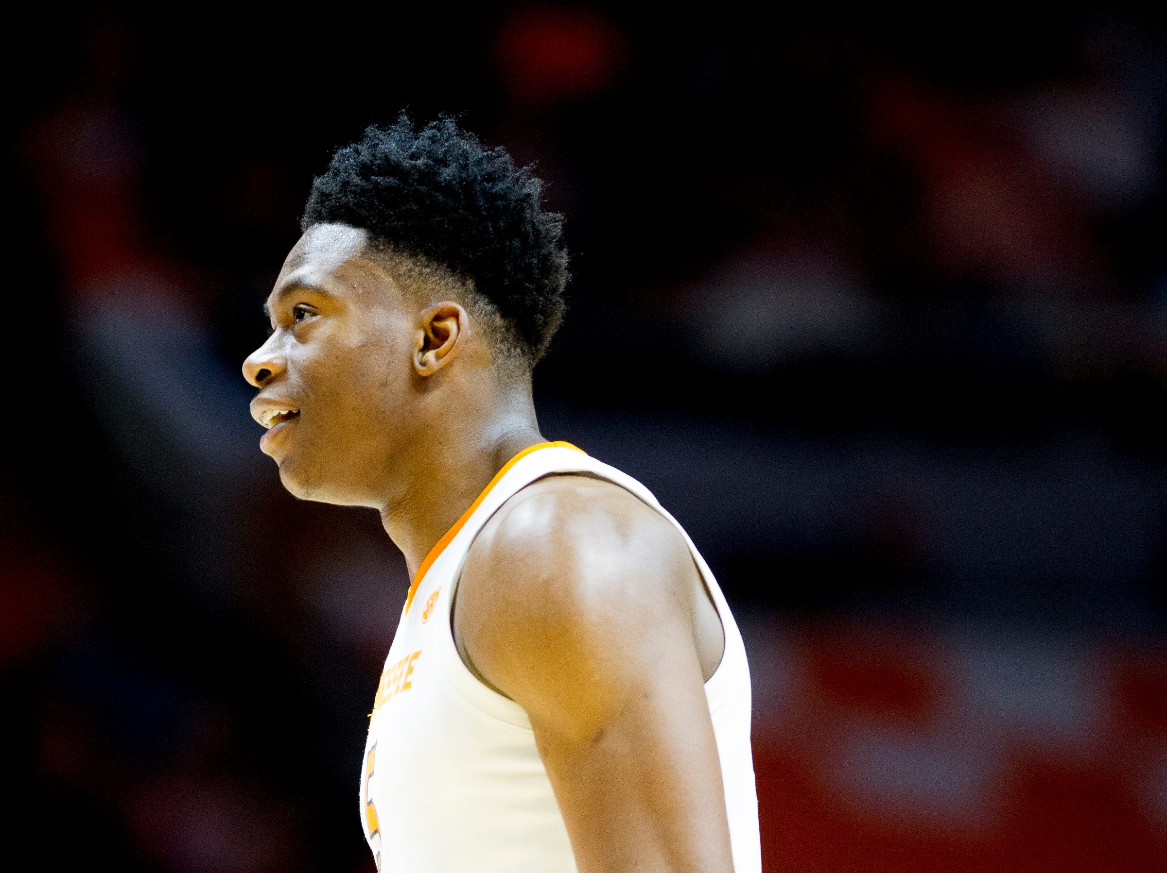 Tennessee guard Admiral Schofield (5) smiles after a play during a game between Tennessee and Tennessee Tech at Thompson-Boling Arena in Knoxville, Tennessee on Saturday, December 29, 2018.
