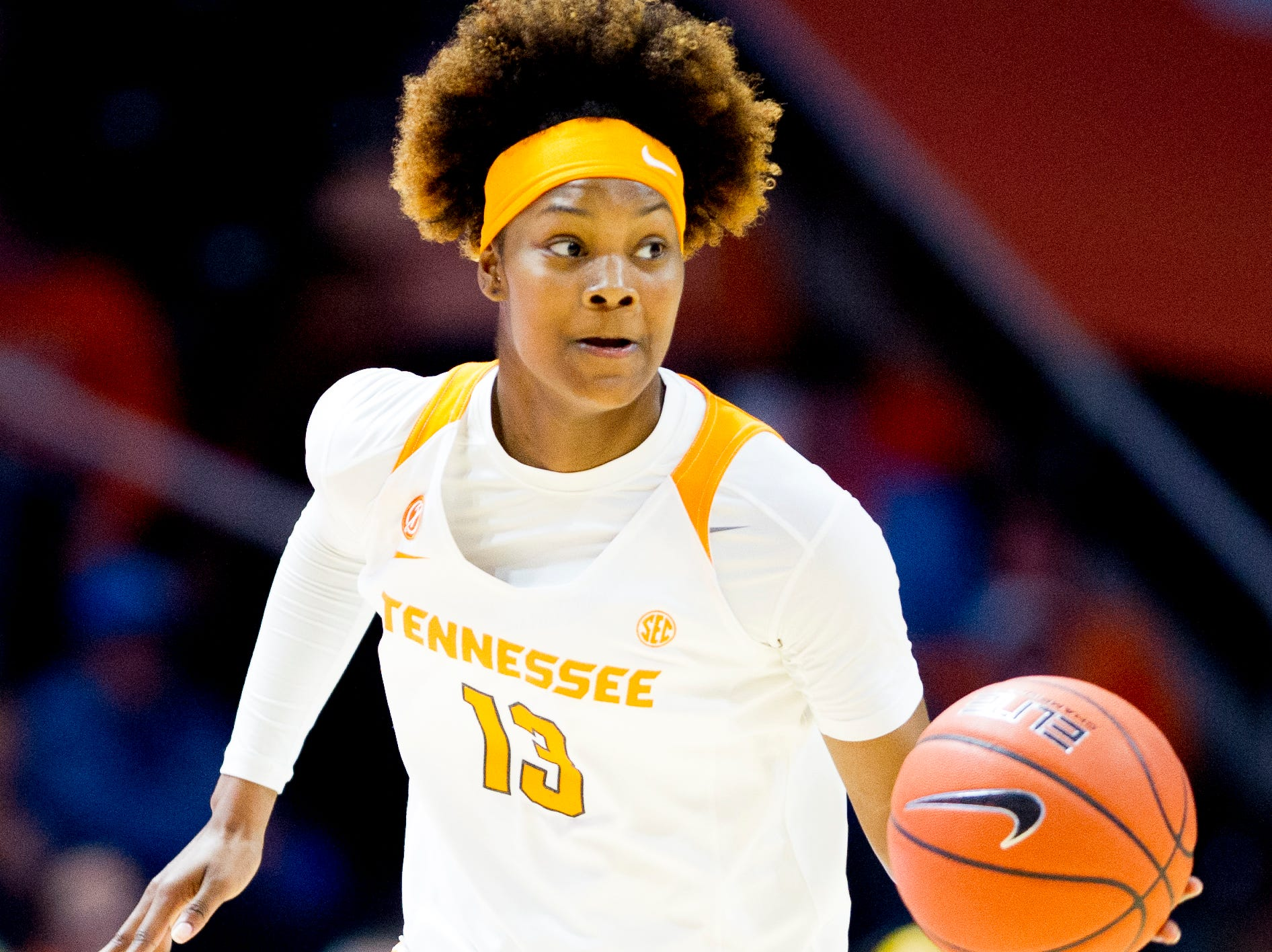 Tennessee guard Jazmine Massengill (13) dribbles down the court during a game between the Tennessee Lady Vols and Murray State at Thompson-Boling Arena in Knoxville, Tennessee on Friday, December 28, 2018.