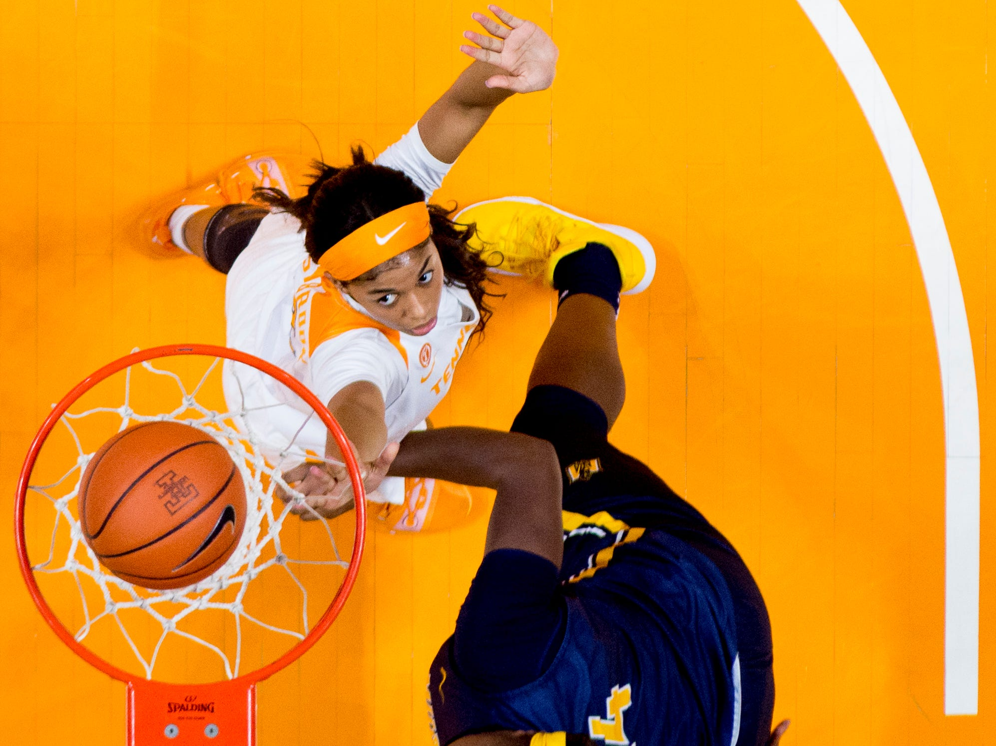 Tennessee guard Evina Westbrook (2) eyes the ball as it falls in the net during a game between the Tennessee Lady Vols and Murray State at Thompson-Boling Arena in Knoxville, Tennessee on Friday, December 28, 2018.