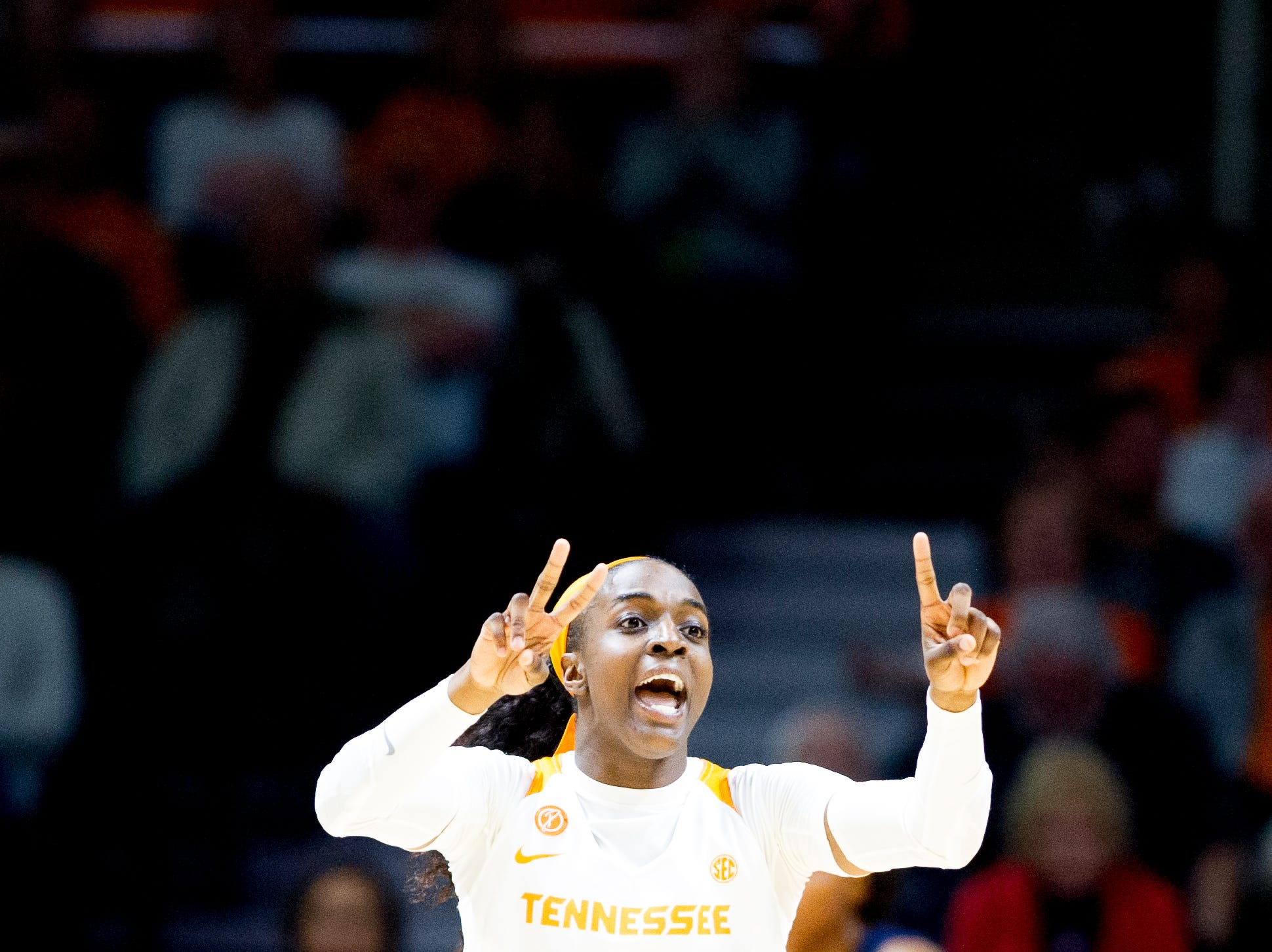 Tennessee guard/forward Meme Jackson (10) calls down the court to teammates during a game between the Tennessee Lady Vols and Murray State at Thompson-Boling Arena in Knoxville, Tennessee on Friday, December 28, 2018.