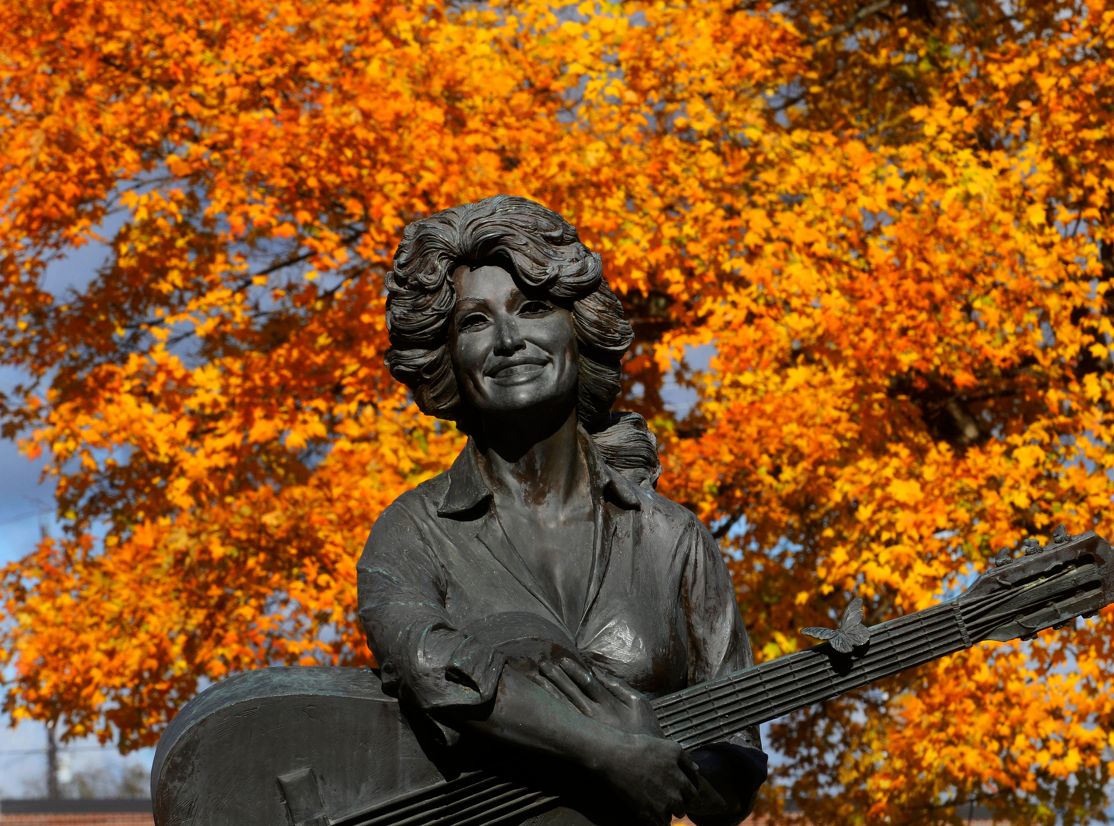 A life-sized statue of Dolly Parton sits on the lawn of the Sevier County Courthouse in Sevierville with a backdrop of changing maple leaves Wednesday, Oct 28, 2009. The statue which was sculpted by local artist Jim Gray was unveiled by Dolly herself on May 2, 1987 features a young Dolly barefoot strumming a guitar. The Sevier County Mayor's administrative assistant Debbie Litton says from her office in the courthouse she views visitors taking their photographs in front of the statue almost daily.